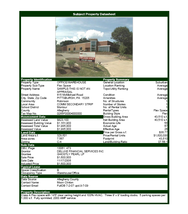 Commercial real estate software property datasheet for Spec sheet for new home construction